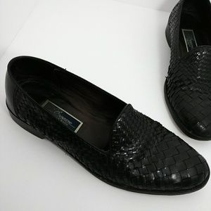 COLE HAAN BRAGANO ITALY WOVEN LEATHER LOAFERS
